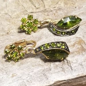 Olive Green Gold Clip Earrings